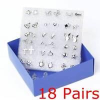 18 Paar gemischte Mini Ohrringe Ohrstecker Piercing Pin Silber überzogene Frauen