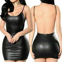 Women Sexy Mini Dress Black Faux Leather Backless Club Party Short Bodycon Dress