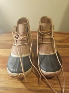 💥 SOREL Size 7.5 Out N About Ankle Duck Boots Leather Waterproof Women's Rain
