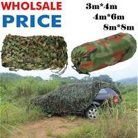 4 size  Woodland Camouflage Net Camo Military Hunting w/ String Netting Big 9O