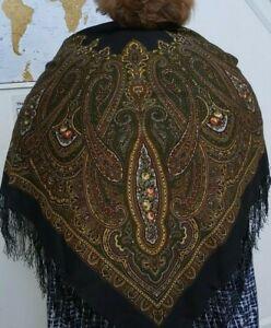 Pavlovo Posad Russian Large Shawl Pashmina Scarf Wrap Pure Wool & Silk Fringe