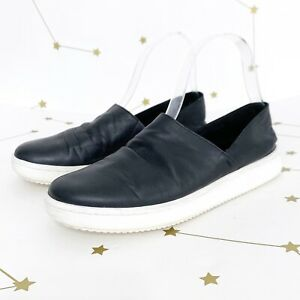Eileen Fisher Sneakers Size 6 Black Washed Leather Panda Slip On Flat Shoes