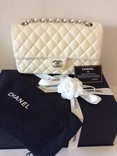 CHANEL Classic Medium White Lambskin Double Flap Bag