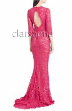 $4995 Dolce & Gabbana AUTH Rose Pink Corded Lace Cutout Back Gown 44 Cordonetto