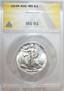 1939 Walking Liberty half dollar ANACS MS61