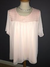 "NWT ""SEE YOU"" BLUSH CHIFFON SHORT SLEEVE BLOUSE WITH YOKE DETAIL SZ 16 RRP £85"