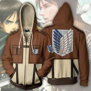Attack on Titan Survey Corps Printed Hoodie Sweatshirt Unisex Zip Up Jacket Gift