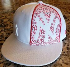 New York Yankees MLB New Era 59FIFTY White w Red decals Fitted Cap Hat 7 1/4