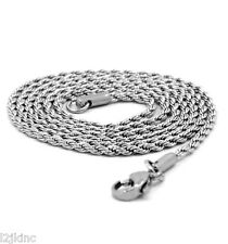 "Men & Lady Stainless Steel 2.4mm French Rope Link Chain Necklace 24"" Inches"