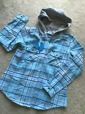 NWT NEW Columbia Sportswear button down shirt long sleeves L LARGE pockets hood