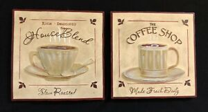 TWO Coffee Cup Wall Hanging Tile Art House Blend Slow Roasted The Coffee Shop