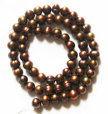 """Freshwater Pearl Coffee Brown 6-7mm Potato Round Loose Beads 16"""" Strand W51"""