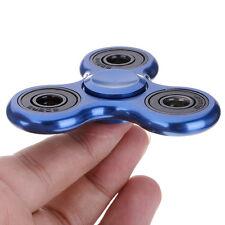 Blue Metal Hand Tri Spinner EDC Toy Stocking Stuffer Gift For Fidget Focusing