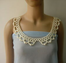 SB273 Pearl Beaded Woven Peter Pan Collar Necklace Sew On Dress Embellishment