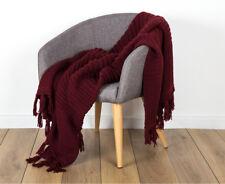 IDC 125x150cm Chunky Knitted Throw - Burgundy