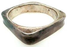 "Fantastic Sterling Silver 925 Square 5/8"" Wide Bangle Bracelet Heavy 44.13 Grams"