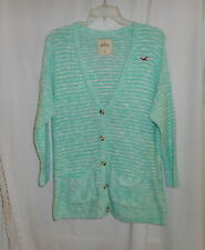 HOLLISTER WOMEN'S TEAL & WHITE BOYFRIEND STYLE CARDIGAN SWEATER SIZE MEDIUM