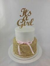 Gold Glitter 'It's a Girl' Cake Topper, Baby Shower Cake Bling Topper