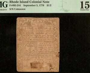 1776 $1/2 HALF DOLLAR RHODE ISLAND COLONIAL CURRENCY NOTE MONEY RI-244 PMG