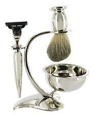 Artamis MACH 3 4pc Silver Shaving Gift Set on Elegant Silver Stand, Badger Brush