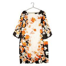 RRP €670 ST. JOHN Satin Shift Dress Size 18 / 4XL Silk Blend Floral 3/4 Sleeve
