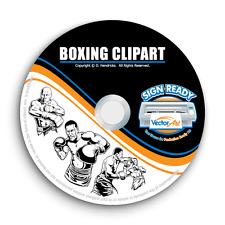 BOXING-BOXER CLIPART -VECTOR CLIP ART-VINYL CUTTER PLOTTER & T-SHIRT GRAPHICS CD