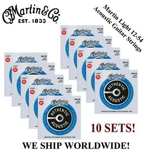 **10 SETS - MARTIN MA140 ACOUSTIC GUITAR STRINGS LIGHT 80/20 BRONZE (WAS M140)**