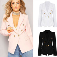 Womens Double Breasted Gold Button Front Military Style Blazer Coat Jacket S-XL