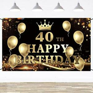 Happy 40th Birthday Banner Backdrop Party Decorations Black and Gold, 6x3.6 Feet