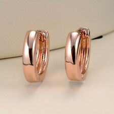 Women's Smooth Hoops Earrings 18k Rose Gold Filled Charms Gift Fashion Jewelry