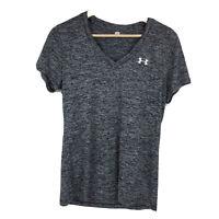 Under Armour V Neck Shirt Womens Sz M Medium Black Gray Short Sleeve XX12