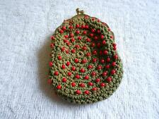 Vintage Pine Green Crocheted Coin Change Purse Red Beads