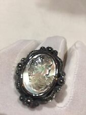 Vintage Real Mother Of Pearl Cameo Marcasite Size 8 Ring