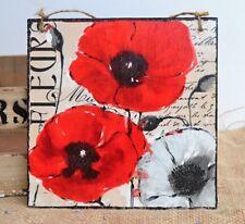 Vintage hanging plaque/picture Meadow flowers - Fleur Red Poppy, script