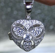 "Vintage Heart Locket 925 STERLING SILVER Simulated Diamond Filigree 18"" necklace"