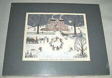 """Judy Wickersham Schauermann Print Folk Art """"Dancing Around the Snowman"""" Signed"""