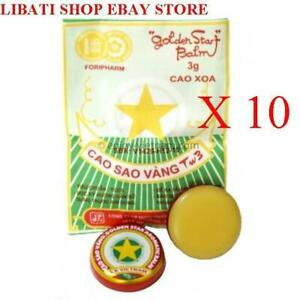 10 Packs --Golden Star Aromatic Balm (3g) - Natural Remedy Essential Oils_USPS