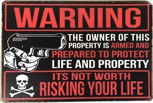 WARNING Garage Rustic Vintage Metal Tin Sign Man Cave,Garage,Shed Bar