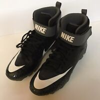 Nike Boys Force Savage Shark Black/White/Gray High Top Football Cleats 6Y VGUC