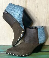 NIB Free People Jeffrey Campbell brown blue Mixed Leather Studded Western Boot 8