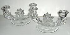 VTG PAIR FOSTORIA BAROQUE ETCHED GLASS DOUBLE CANDELABRA CANDLE STICK HOLDERS
