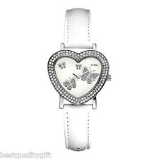 NEW-GUESS WHITE LEATHER BAND+ HEART SHAPE+BUTTERFLY+CRYSTALS DIAL WATCH-U95180L1
