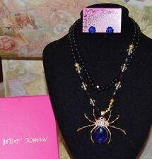 2PC BETSEY JOHNSON GORGEOUS BLUE/CLEAR CRYSTAL SPIDER ON BEADED NECKLACE EARRING