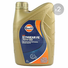 Gulf Syngear FE 75w-80 High Performance Fuel Economy Gear Oil 2 x 1 Litre 2L