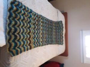 Vintage handmade crochet chevron afghan throw blanket 31X70 earth colors