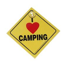 I Love (Heart) Camping Plastic Car, Truck, Window Sign with Suction Cup