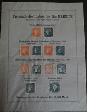 RARE Planche timbres MAURICE Fac-Simile album Fournier MAURITIUS fake FORGERY