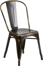 New Distressed Bronze Copper Metal Indoor-outdoor Stackable Chair, Patio, Deck