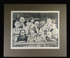 "Charles Bragg Lithograph ""The Jury I"" ~20x16~22x18 matting~De Ville Los Angeles"