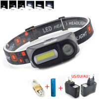 USB Rechargeable COB LED Headlamp Headlight Head Torch Lamp 18650 Flashlight